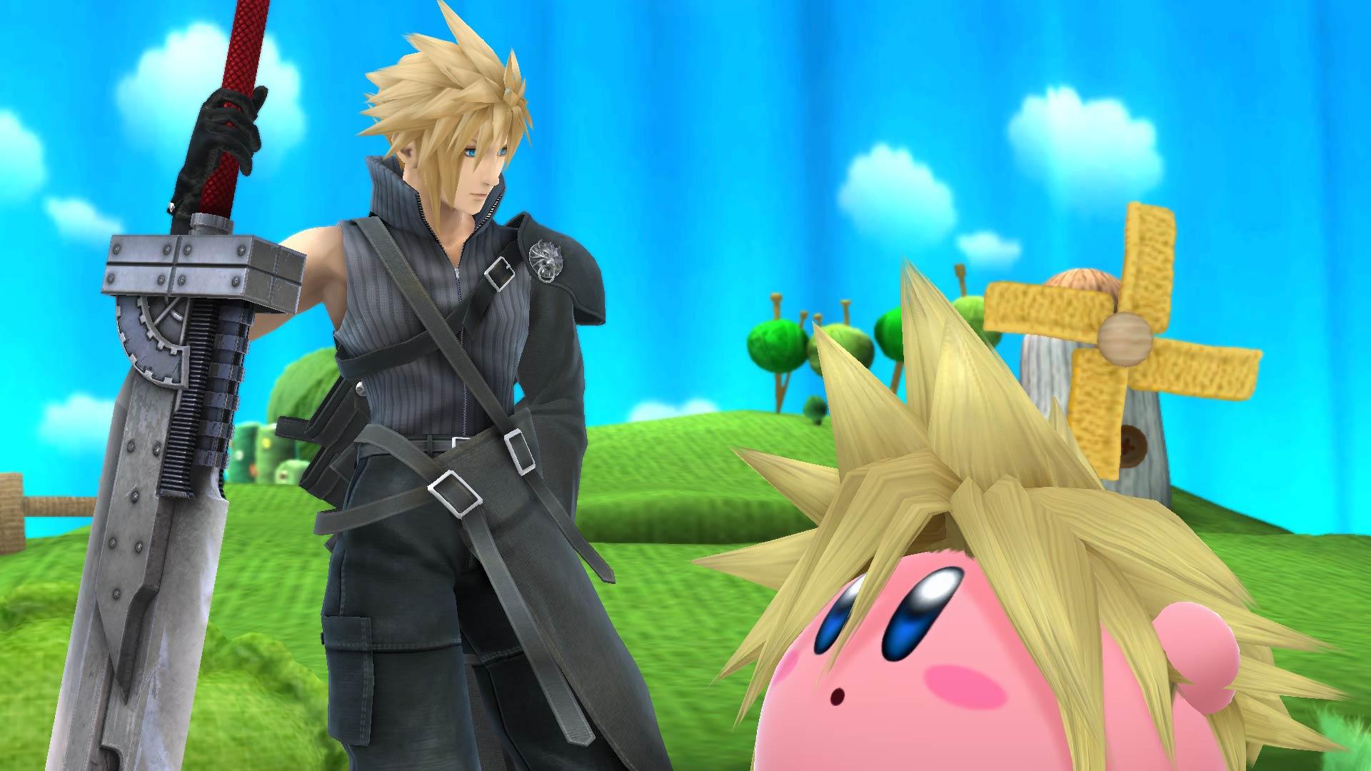 Aspecto de Advent Children junto a Kirby Cloud