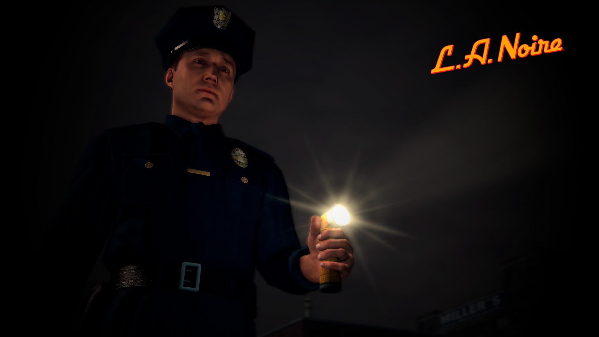 Cole Phelps como policía uniformado
